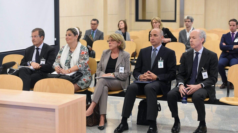 Felipe Benjumea y la cúpula de Abengoa, en la Audiencia Nacional.