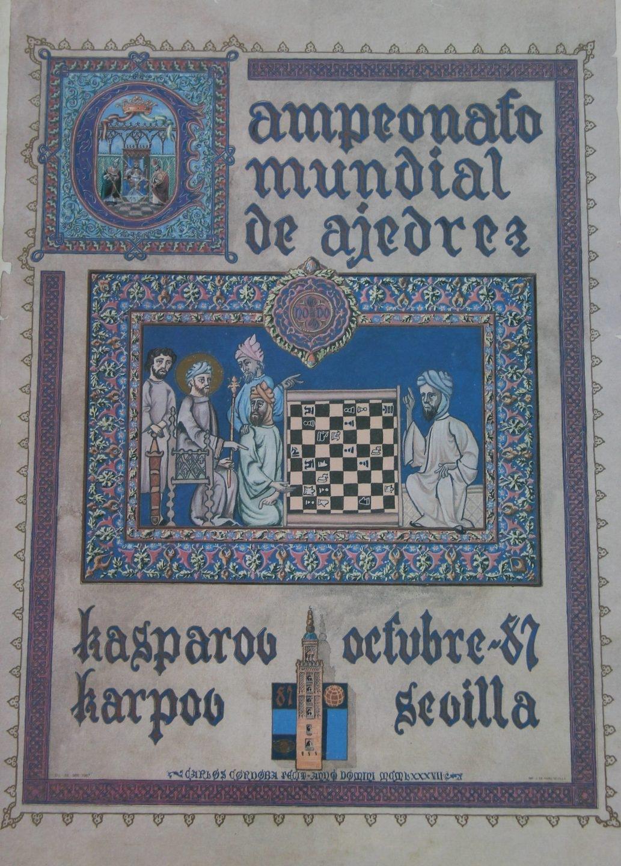 Cartel anunciador del Campeonato Mundial de Ajedrez de 1987.