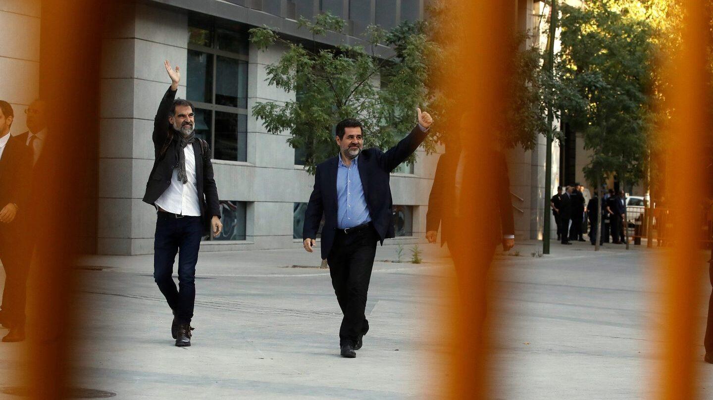 Jordi Cuixart y Jordi Sánchez llegan a la Audiencia Nacional.