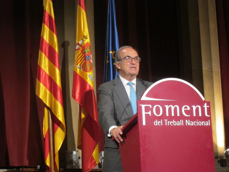 El presidente de Fomento del Trabajo, Joaquim Gay de Montellà, en un acto de la patronal catalana.