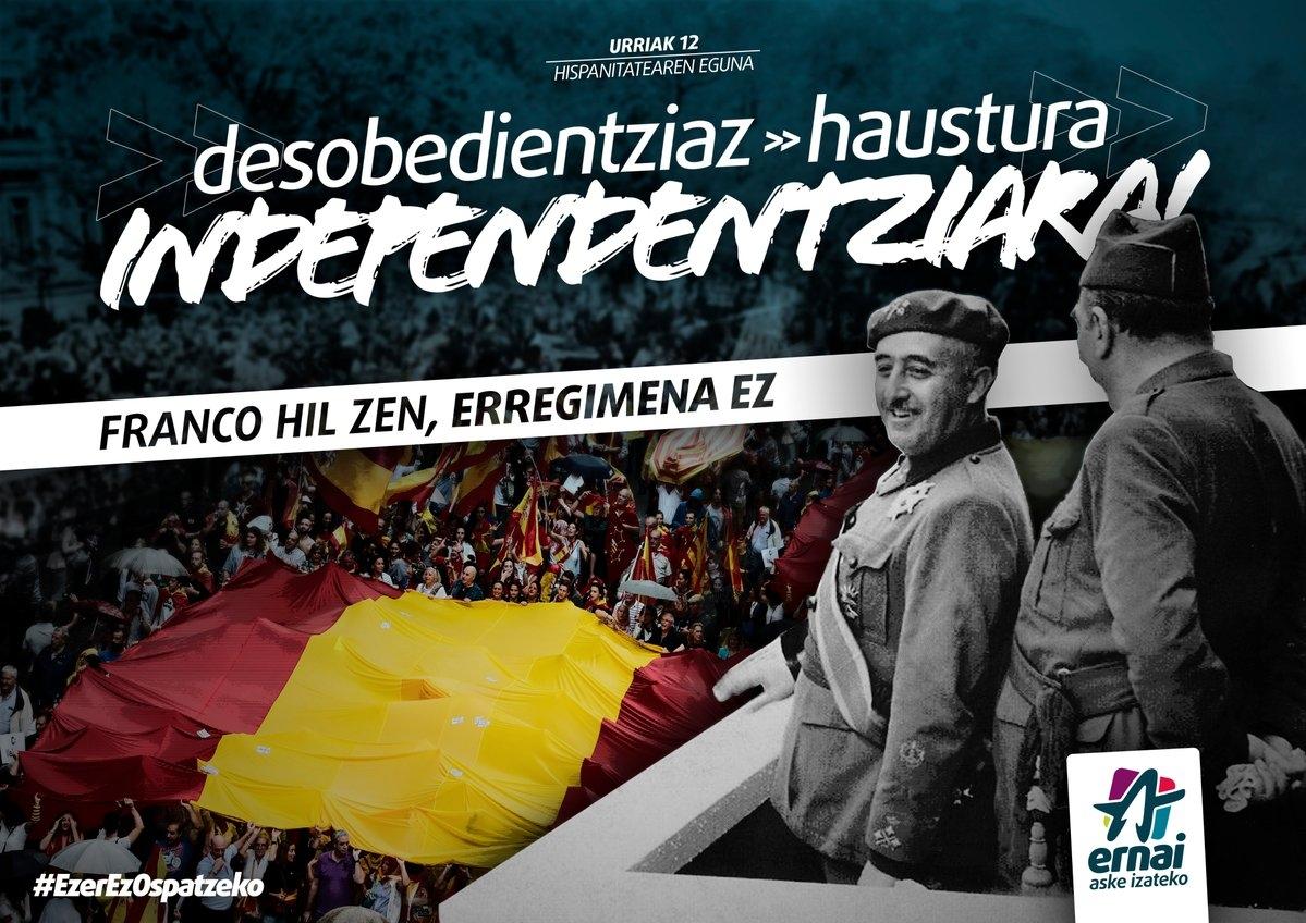 Campaña en contar del 12 de octubre impulsada por las juventudesw de la izquierda abertzale.