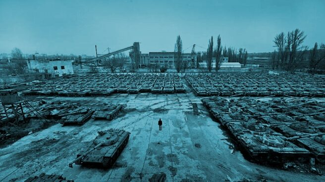 Fábrica soviética de tanques abandonada en Ucrania.
