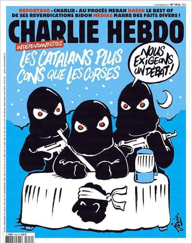 Portada del semanario 'Charlie Hebdo' dedicado al desafío independentista catalán.
