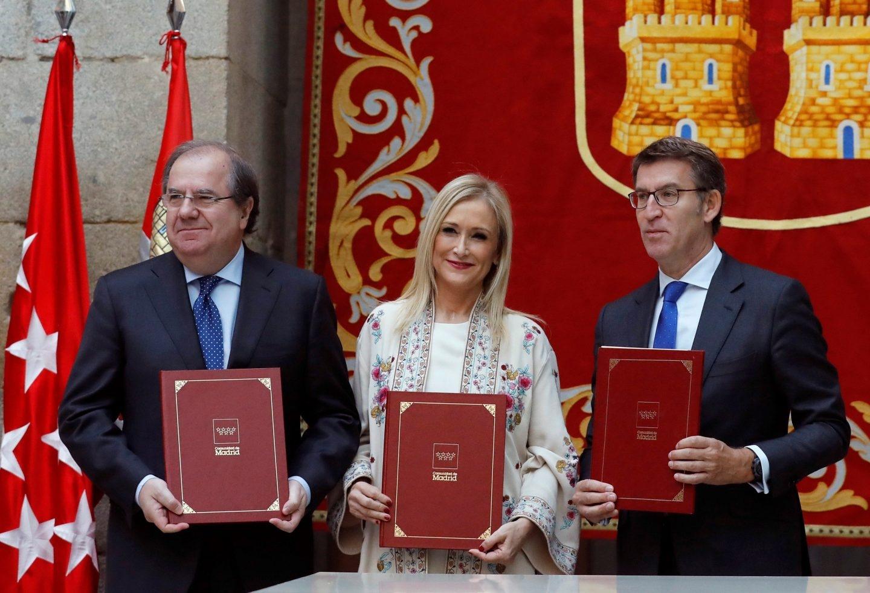 Herrera, Cifuentes y Feijóo, en la Comunidad de Madrid.