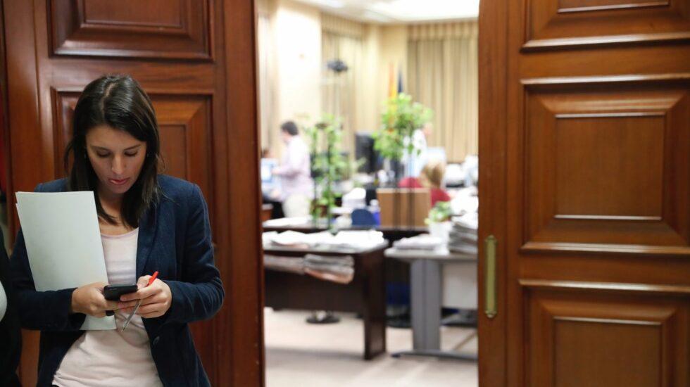 Irene Montero, al término de la Junta de Portavoces.