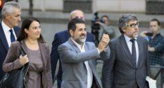El presidente de la ANC, Jordi Sánchez, llegando este lunes a la Audiencia Nacional para declarar.