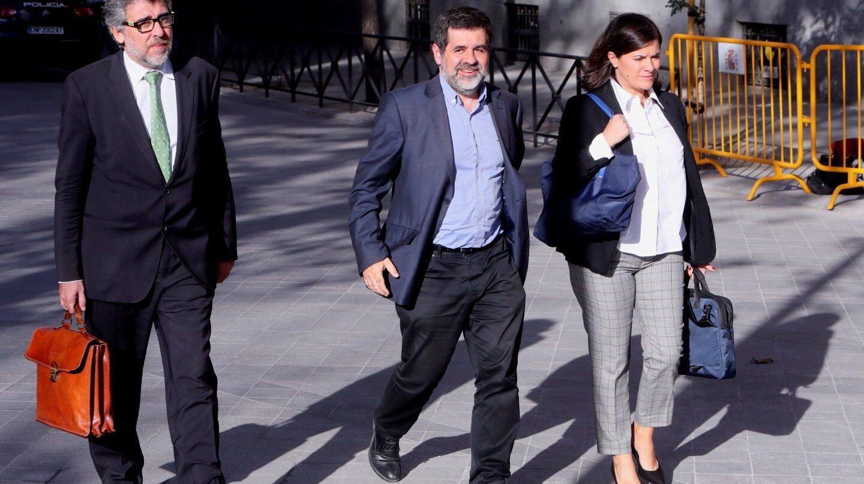 El líder de ANC, Jordi Sánchez, se dirige a la Audiencia Nacional.
