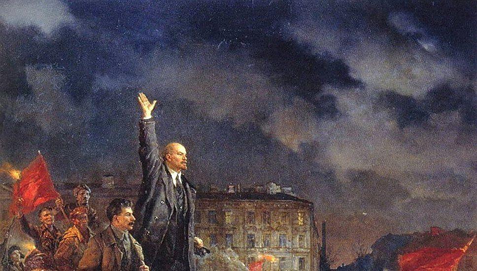 Lenin y Stalin en una pintura conmemorativa de la Revolución de Octubre.