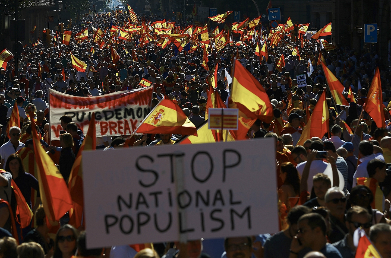 Una de las pancartas de la manifestación de este domingo en Barcelona.