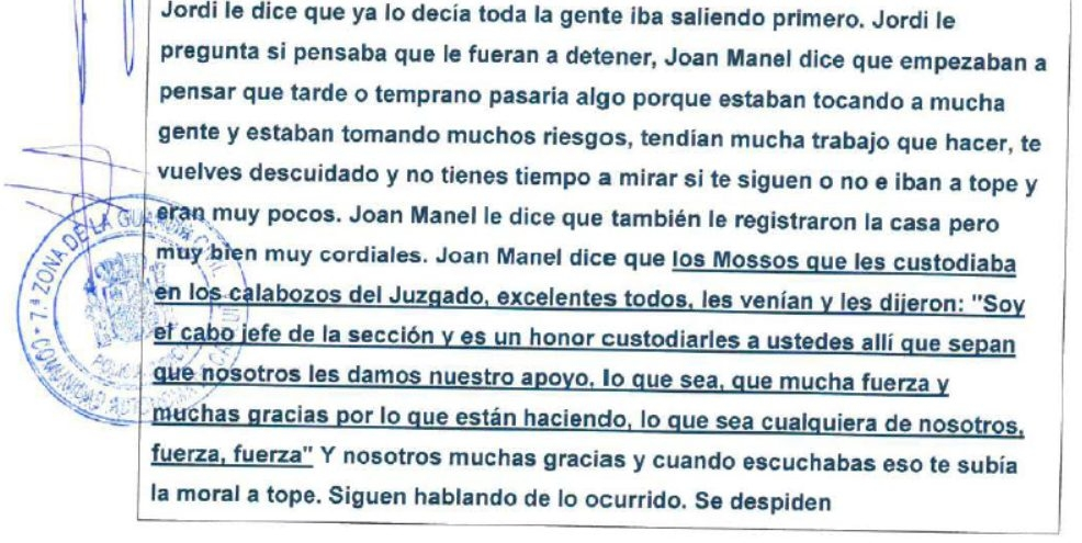 Extracto del atestado de la Guardia Civil.