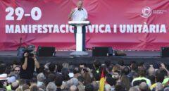 Paco Frutos, ex secretario del PCE, se dirige al público en la manifestación por la unidad del domingo.