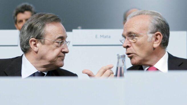 El presidente de ACS, Florentino Pérez, y el presidente de Criteria Caixaholding, Isidre Fainé.