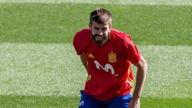 Gerard Piqué, en el entrenamiento con la selección.
