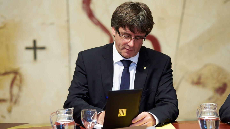 Carles Puigdemont, en una reunión del Govern.