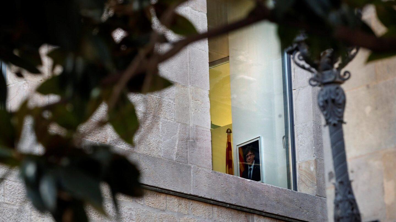 Una foto de Puigdemont colgada en un despacho de la Generalitat.