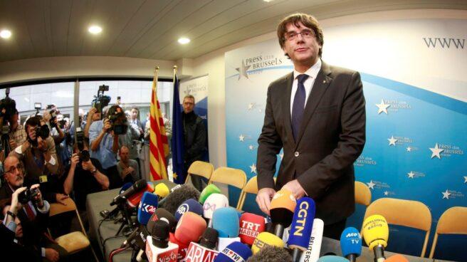 Puigdemont, en su rueda de prensa en Bruselas.