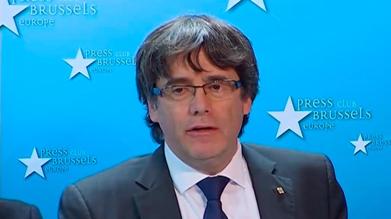 Carles Puigdemont, en su comparecencia en bruselas.