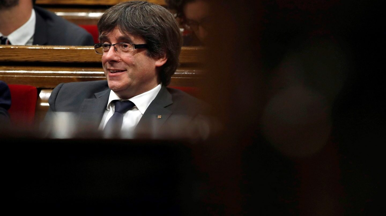 Carles Puigdemont en el Parlament de Cataluña.