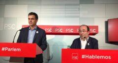 Reunión en el PSC: Pedro Sánchez y Miquel Iceta.