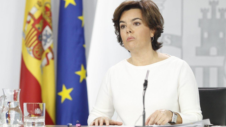 Soraya Sáenz de Santamaría, en la rueda de prensa del Consejo de Ministros.