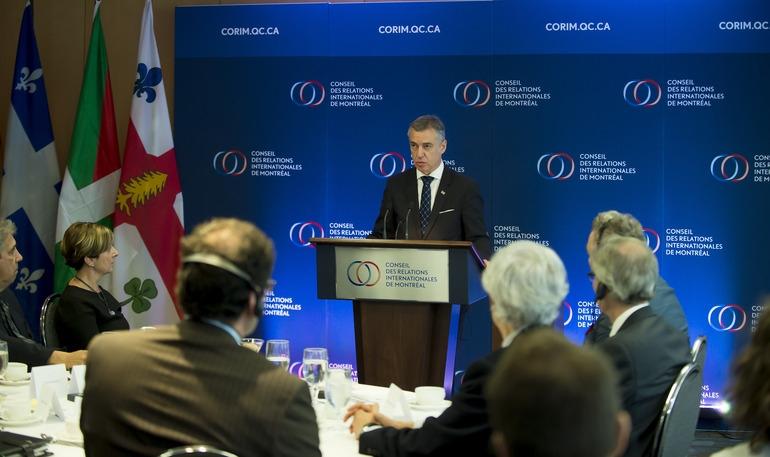 El lehendakari Iñigo Urkullu durante su intervención en Montreal.