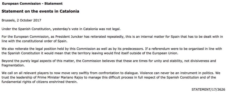 Comunicado de la Comisión Europea sobre el referéndum de Cataluña el 1-O.