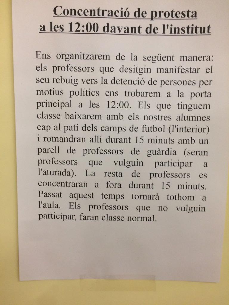 Nota informativa de un colegio sobre los paros convocados en apoyo a los líderes de la ANC y Òmnium.
