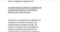 Texto del e-mail enviado por Altafaj a los suplentes de la delegación española.