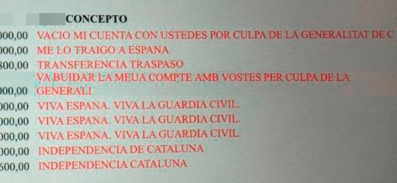 Pantallazo obtenido por un empleado de un banco catalán con las órdenes de transferencias de clientes.
