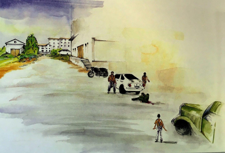 Dibujo realizado por un guardia civil sobre el atentado que acabó con el agente Jose Antonio Pardines el primero del cuepro asesinado por ETA.