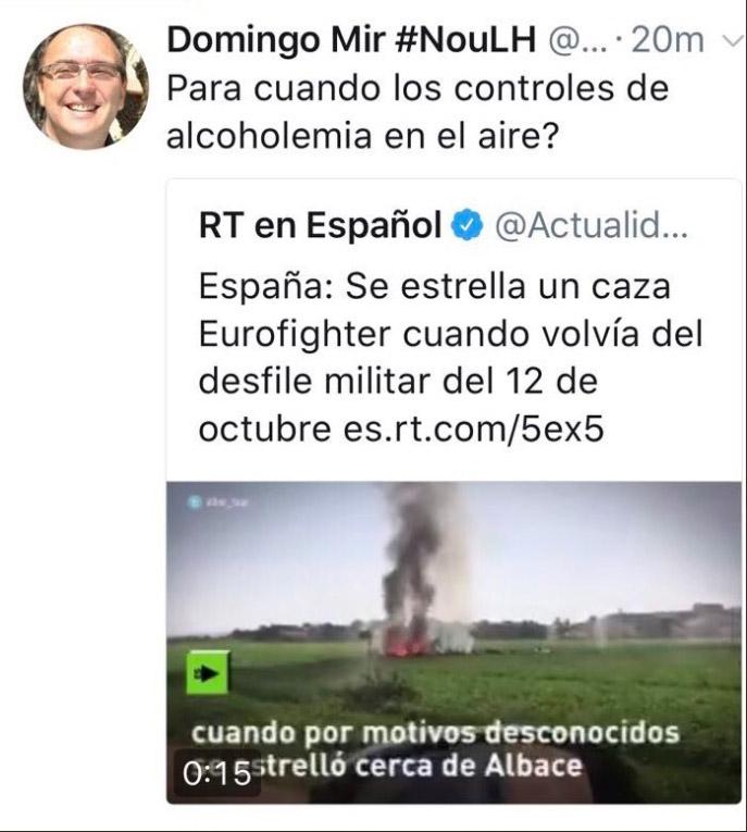 El coordinador de ERC en l'Hospitalet de Llobregat se burla del piloto fallecido.