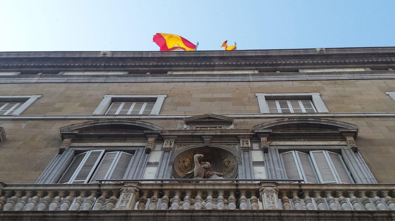 Fachada de la Generalitat de Cataluña el día de la declaración unilateral de independencia.