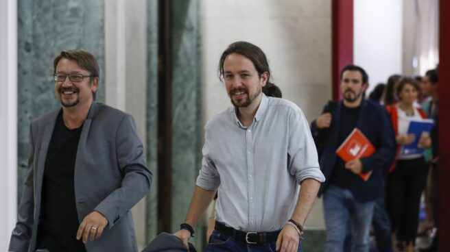 Pablo Iglesias, junto a Xavier Domènech.