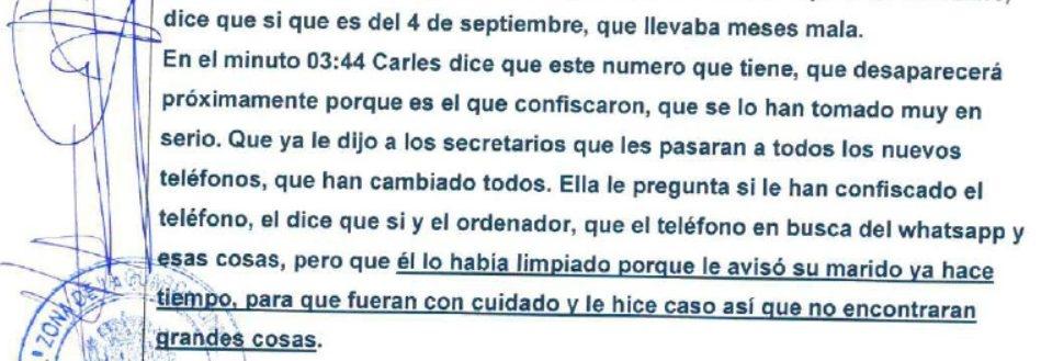 Atestado en el que se reproduce la conversación de Carlos Viver con la esposa del ex consejero catalán de Interior.