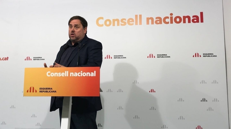 Oriol Junqueras, líder de ERC y ex vicepresidente de la Generalitat de Cataluña, en un acto de su partido.