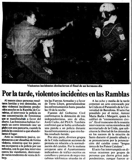 Noticia publicada por La Vanguardia el 24 de abril de 1985.