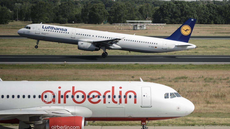 Aviones de las aerolíneas Lufthansa y Air Berlin.