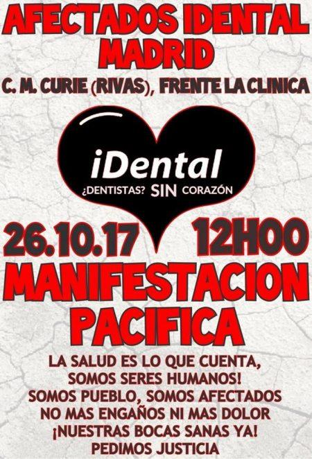 Cartel de la manifestación de afectados de iDental convocada en Madrid el 26 de octubre.