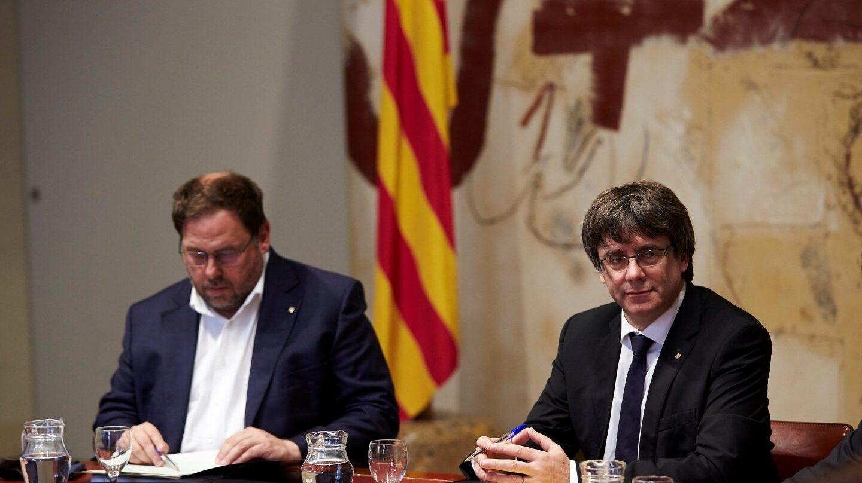 Junqueras y Puigdemont, en la reunión del Govern.