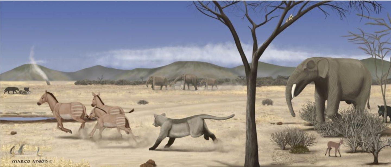 Recreación de la sabana del centro ibérico en el Mioceno