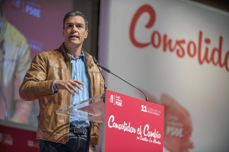 El secretario general del PSOE, Pedro Sánchez, durante su intervención en Toledo.