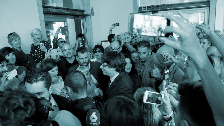 El presidente cesado de la Generalitat de Cataluña, Carles Puigdemont, en Girona.