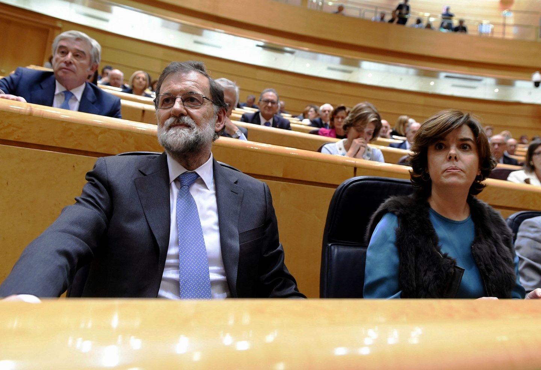 El presidente y la vicepresidenta del Gobierno, Mariano Rajoy y Soraya Sáenz de Santamaría.