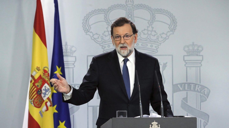 Mariano Rajoy, tras el Consejo de Ministros que ha aprobado la activación del artículo 155 en Cataluña.