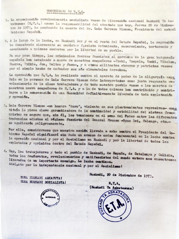 Comunicado de ETA con la reivindicación del asesinato de Carrero Blanco.