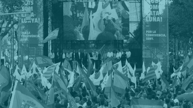 Una imagen de la manifestación por la unidad de España el domingo en Barcelona.