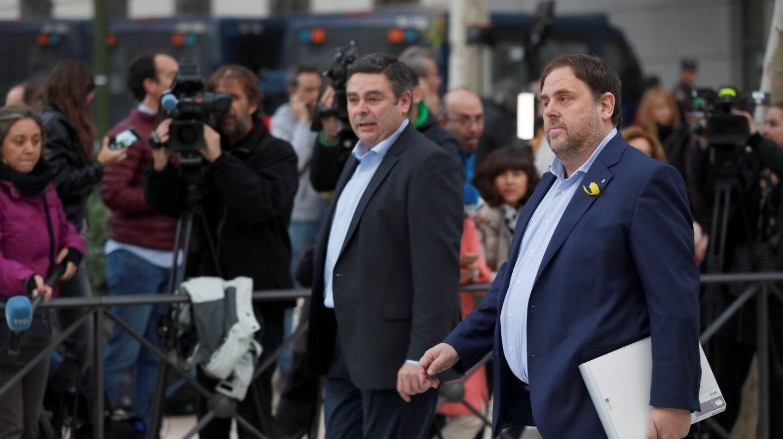 El vicepresidente cesado de la Generalitat de Cataluña, Oriol Junqueras, a su llegada a la sede de la Audiencia Nacional, a finales de octubre.