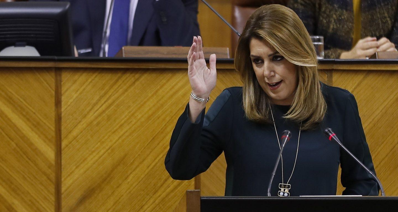 Susana Díaz en la tribuna del Parlamento de Andalucía el 23 de noviembre, durante el debate sobre el estado de la comunidad.