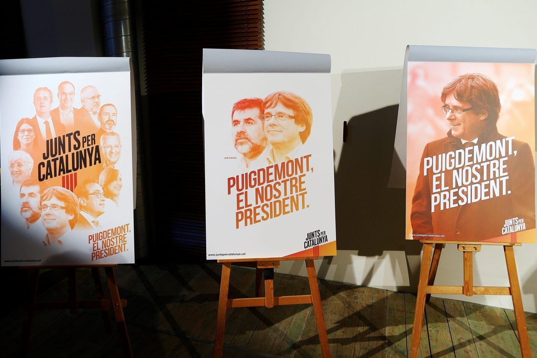 Los responsables de la campaña electoral de Junts per Catalunya han presentado la imagen y el lema de la candidatura.