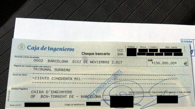 La ANC publicó el cheque con el que abonó la fianza de Carme Forcadell.